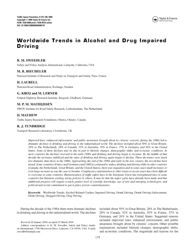Worldwide Trends in Alcohol and Drug Impaired Driving