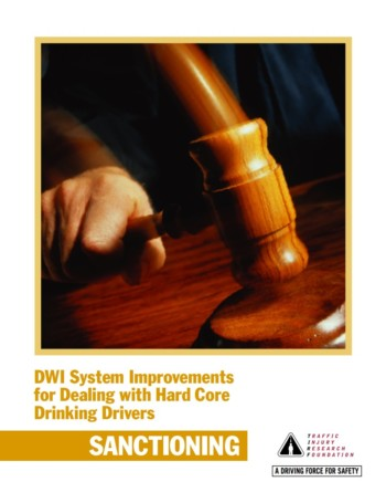 DWI System Improvements for Dealing with Hard Core Drinking Drivers: Sanctioning