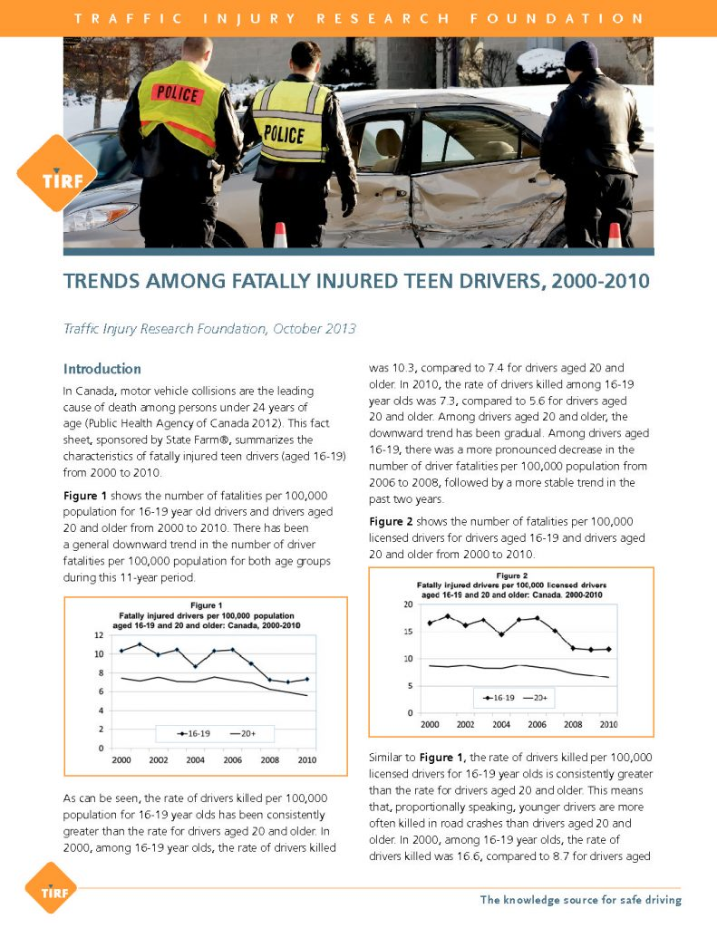 Canadian Teenagers, Especially Males, Still Over-Represented Among Driver Fatalities