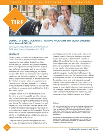 New TIRF Research Bulletin: 'Computer-Based Cognitive Training Programs for Older Drivers: What Research Tells Us'