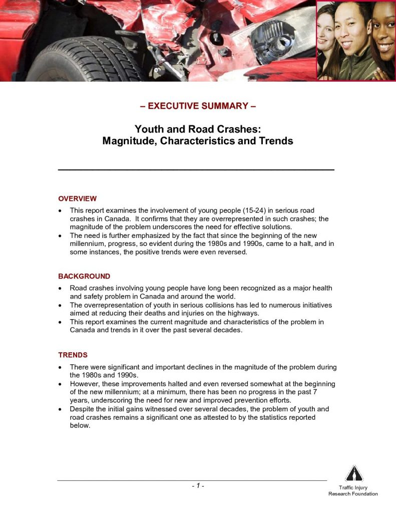 Youth and Road Crashes: Magnitude, Characteristics, and Trends – Executive Summary