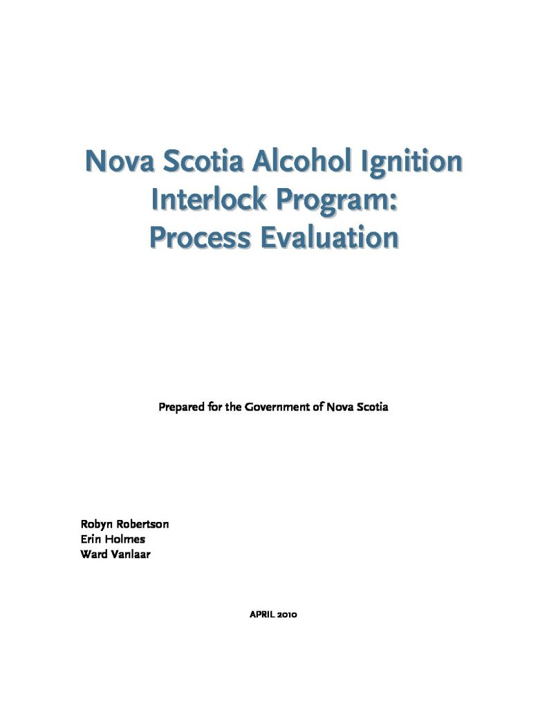 Nova Scotia Alcohol Ignition Interlock Program: Process Evaluation
