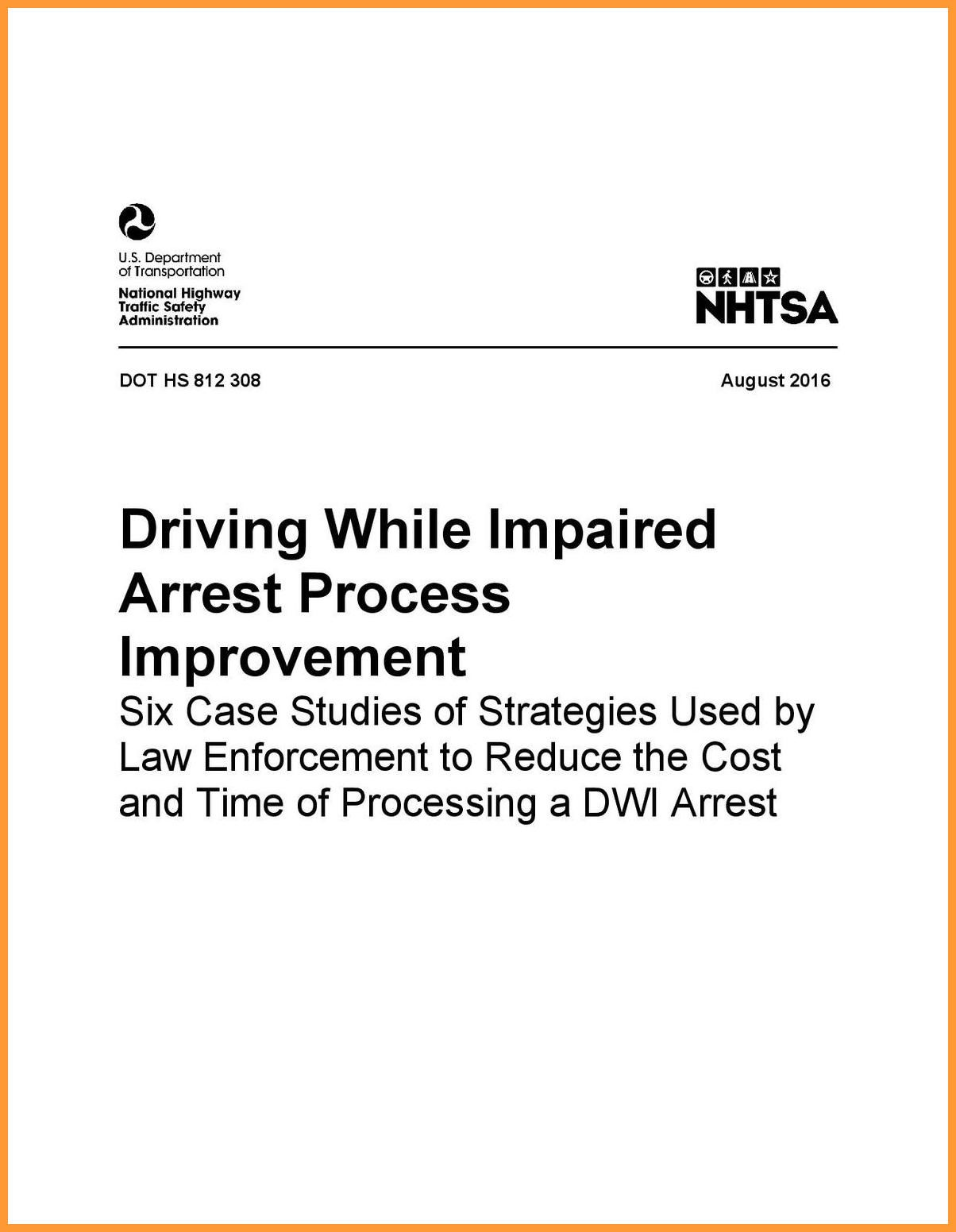Driving While Impaired Arrest Process Improvement