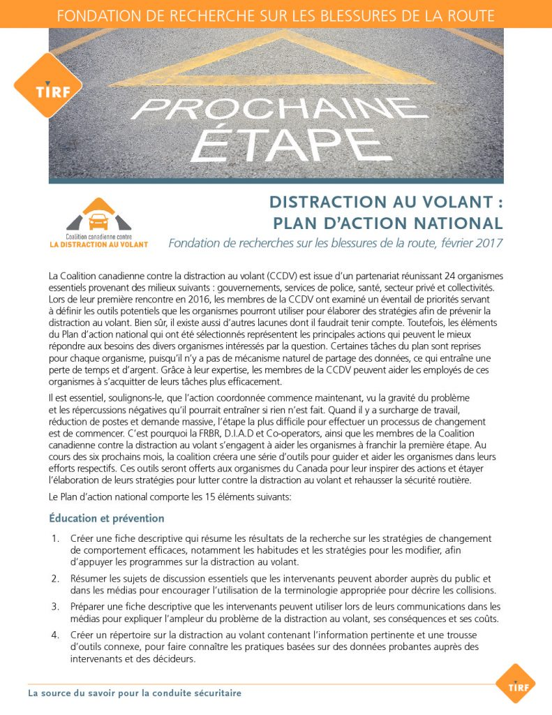 Distraction au Volant: Plan D 'Action National Fiche Descriptive