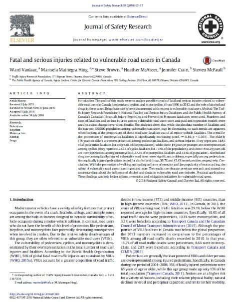 Fatal and serious injuries related to vulnerable road users in Canada