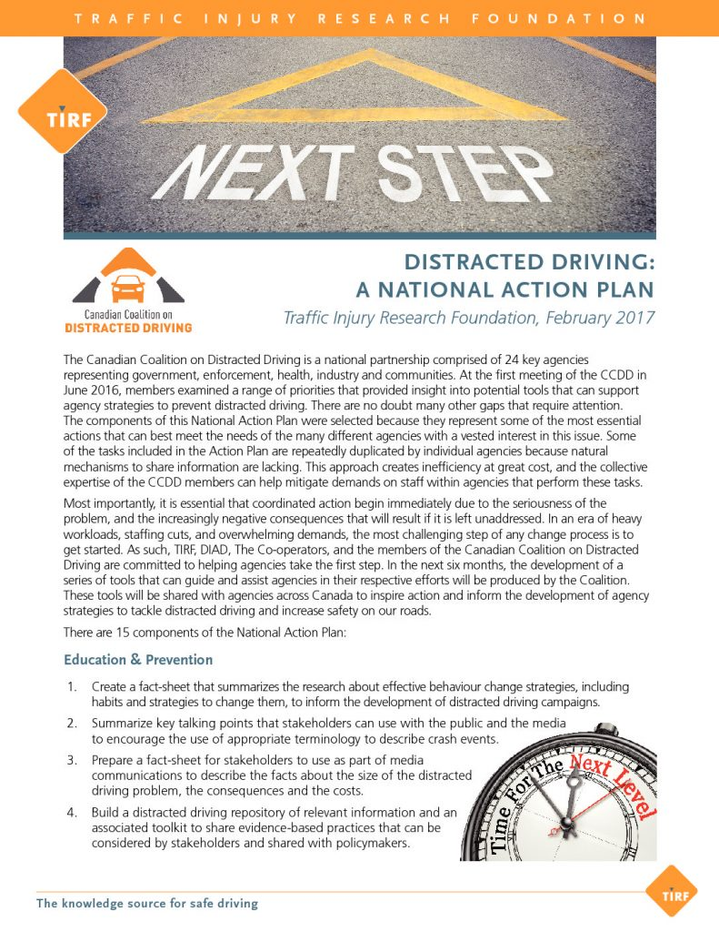 Distracted Driving National Action Plan Fact Sheet
