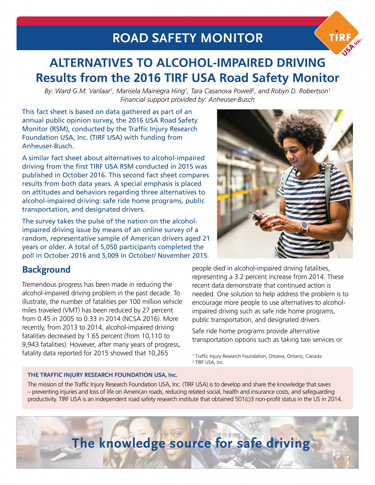 Road Safety Monitor: Alternatives to Impaired Driving in the United States, 2016
