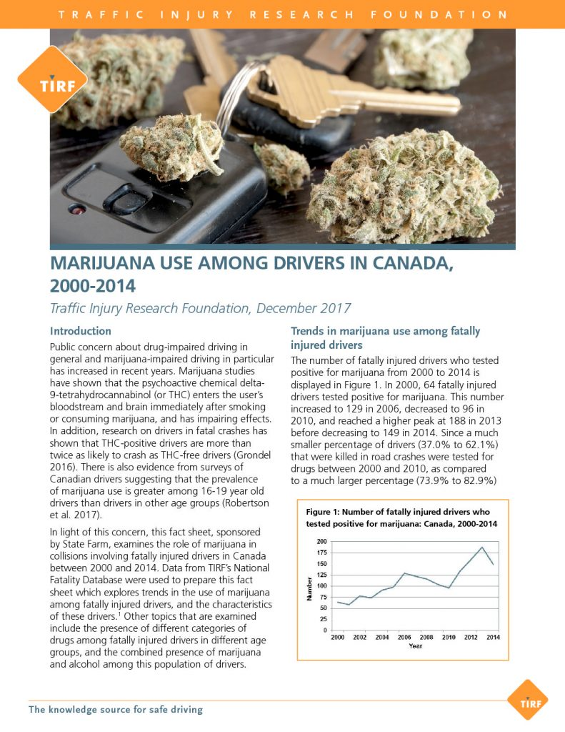 Marijuana Use Among Drivers in Canada, 2000-2014