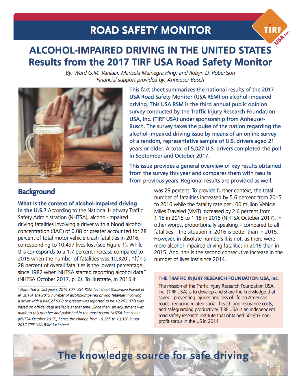 Road Safety Monitor: Alcohol-Impaired Driving in the United States, 2017