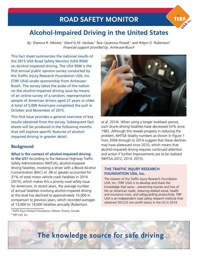 Road Safety Monitor: Alcohol-Impaired Driving in the United States, 2015