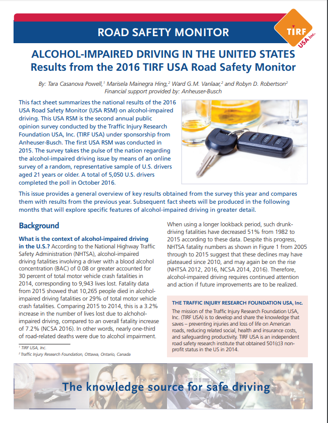 Road Safety Monitor: Alcohol-Impaired Driving in the United States, 2016