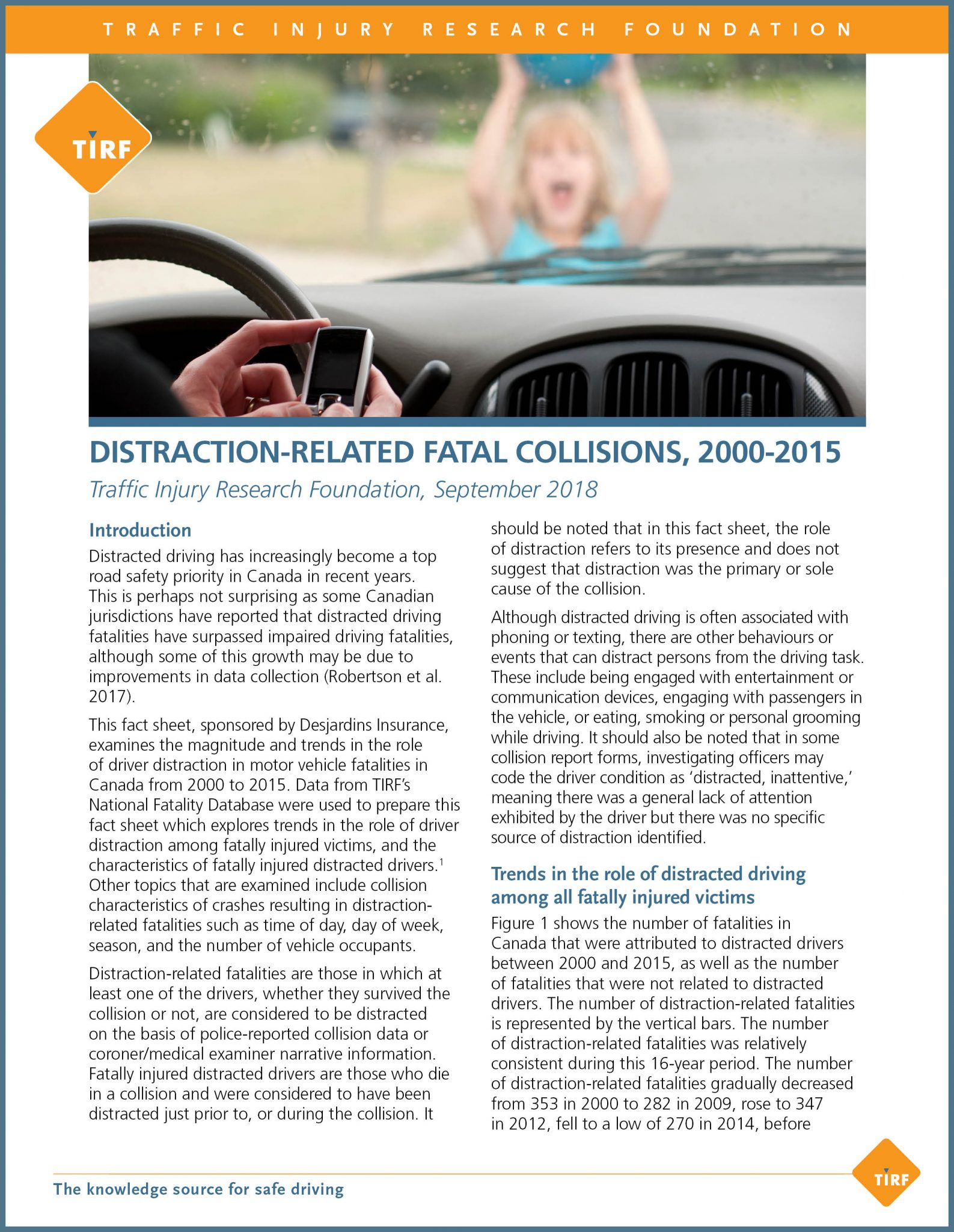 Distraction-Related Fatal Collisions, 2000-2015