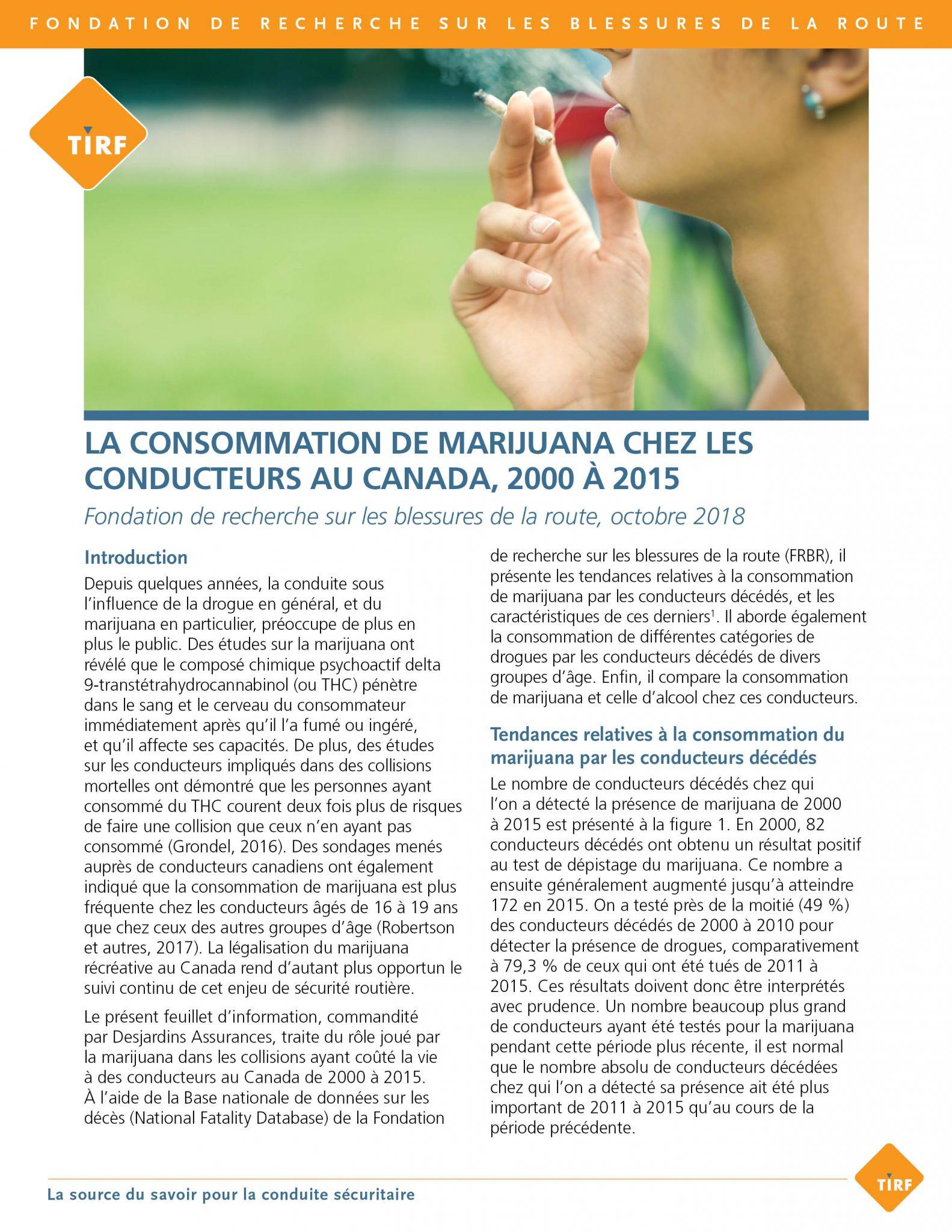 La consommation de marijuana chez les conducteurs au Canada, 2000 à 2015