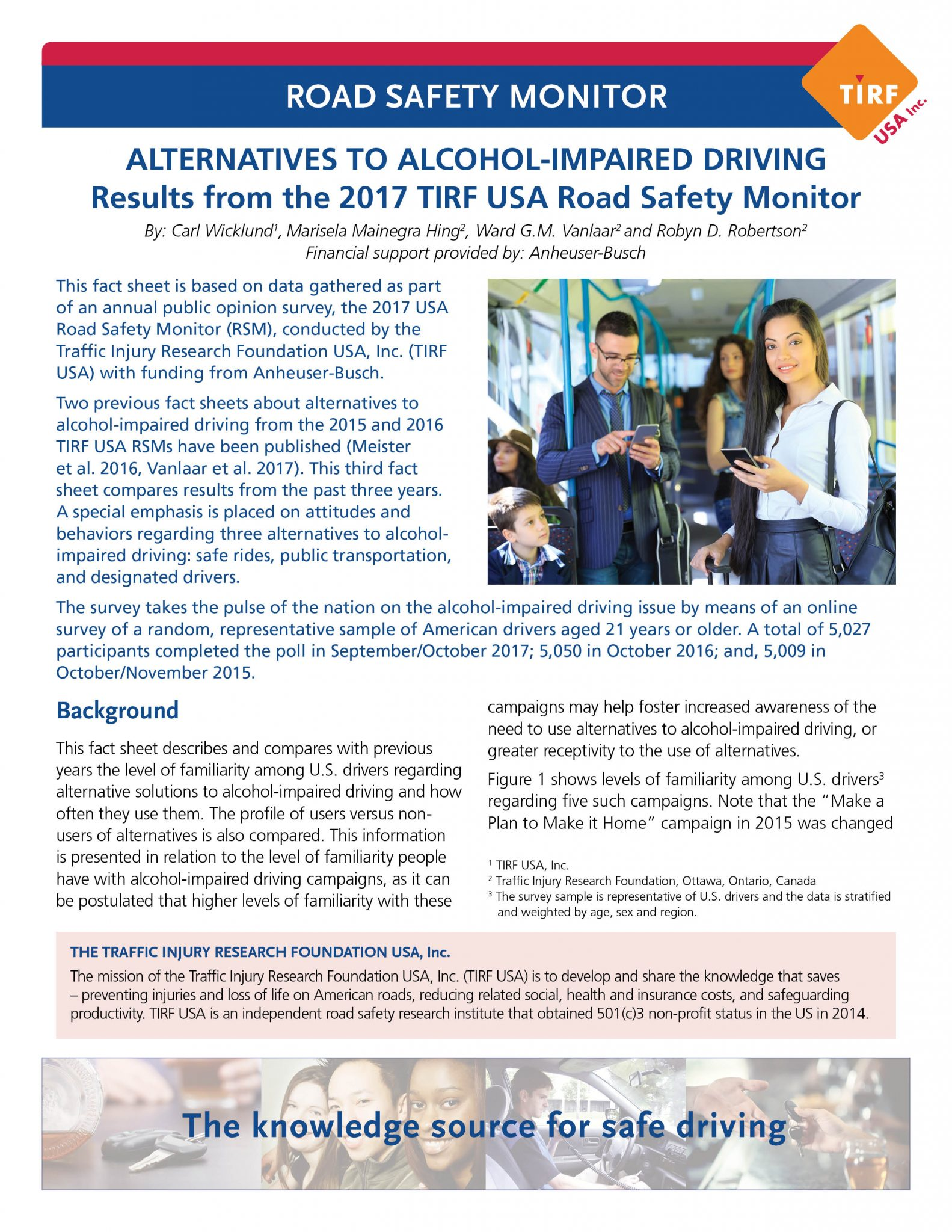 Road Safety Monitor: Alternatives to alcohol-impaired driving in the United States, 2017