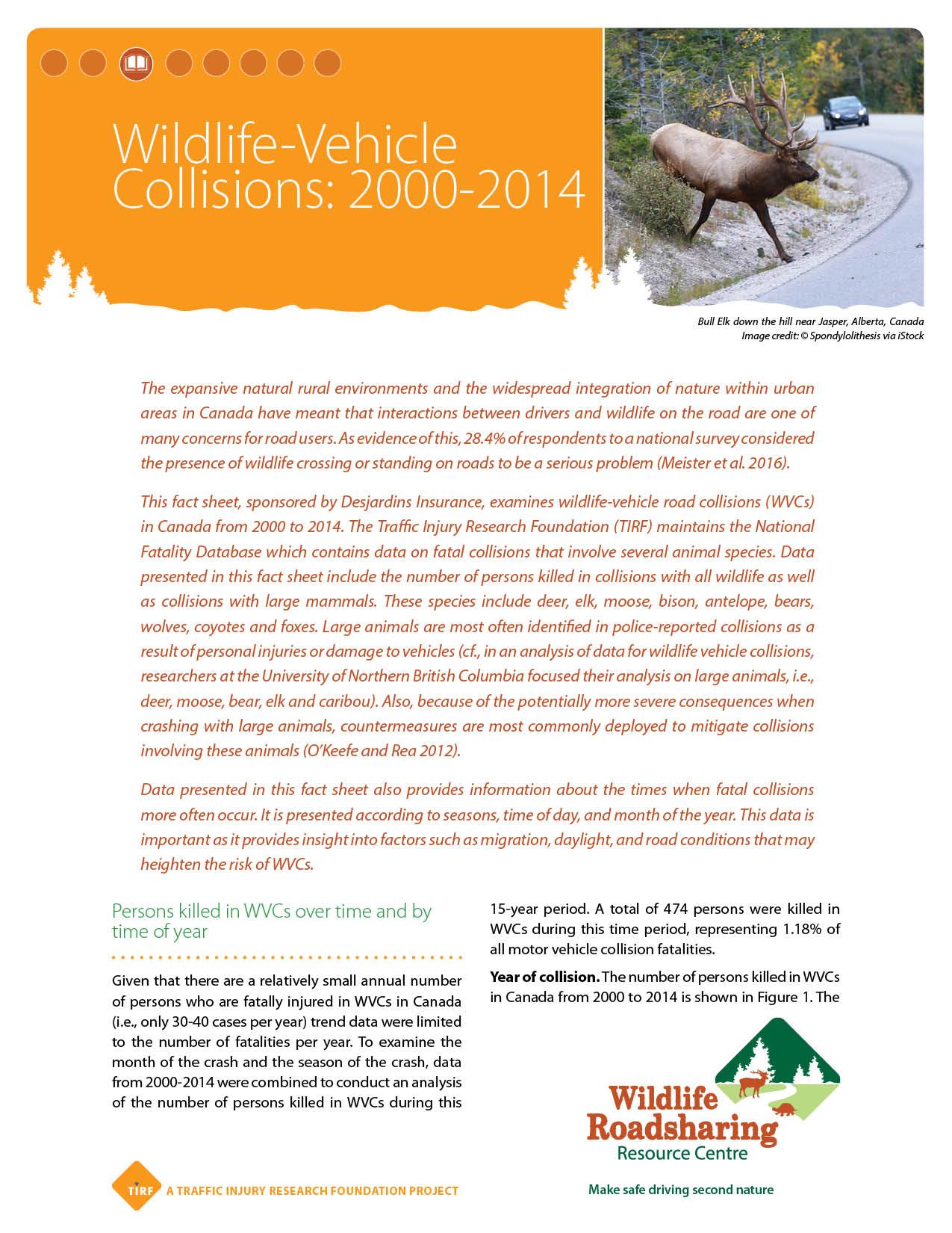 Wildlife-Vehicle Collisions: 2000-2014