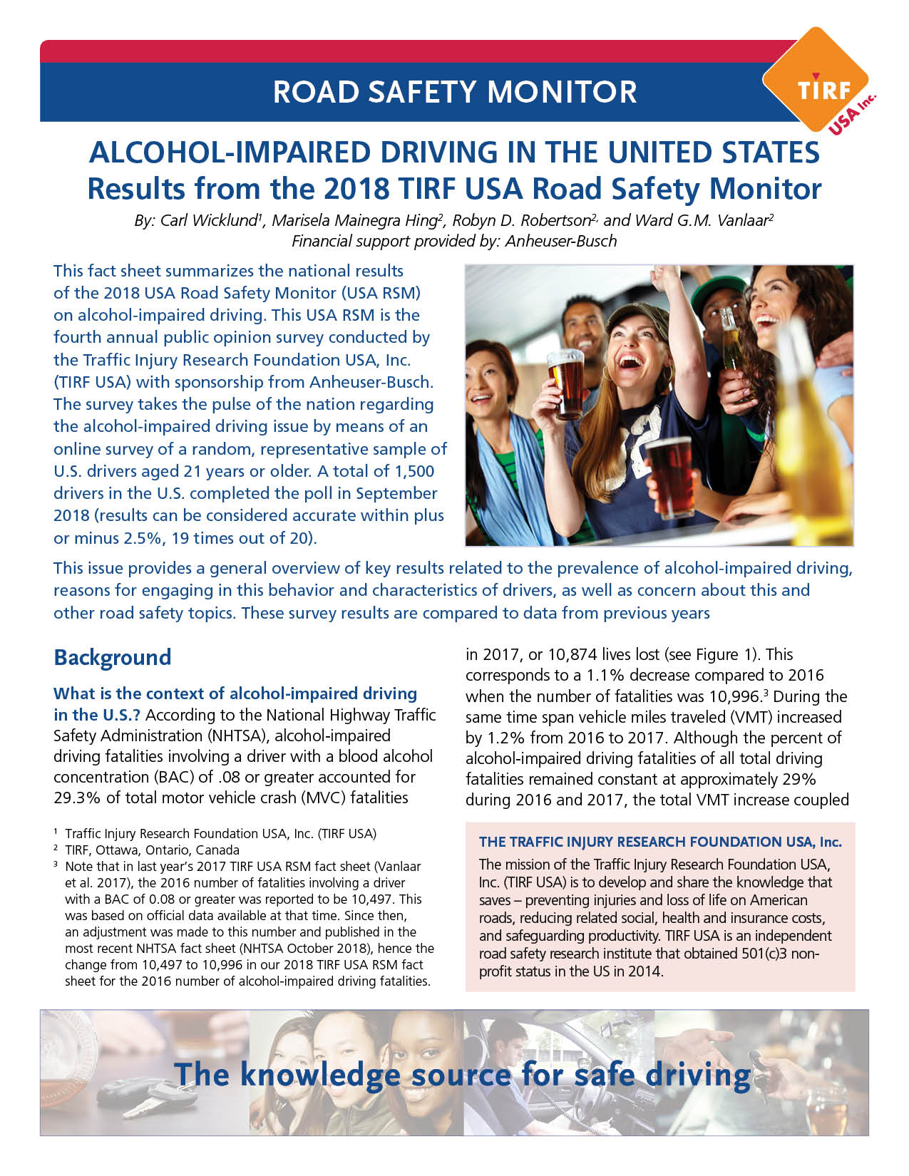 Road Safety Monitor: Alcohol-Impaired Driving in the United States, 2018