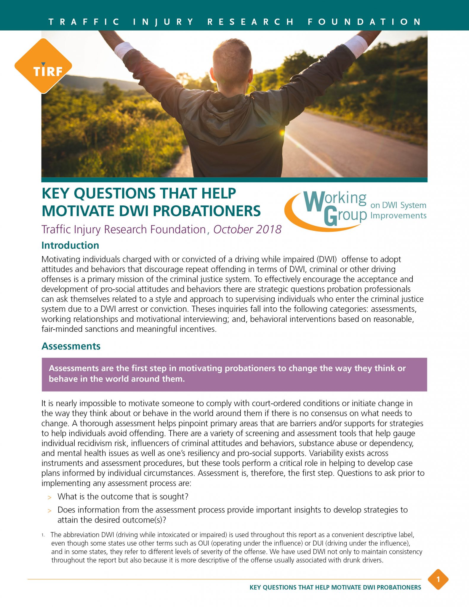 WG 2017 – Key Questions that Help Motivate DWI Probationers