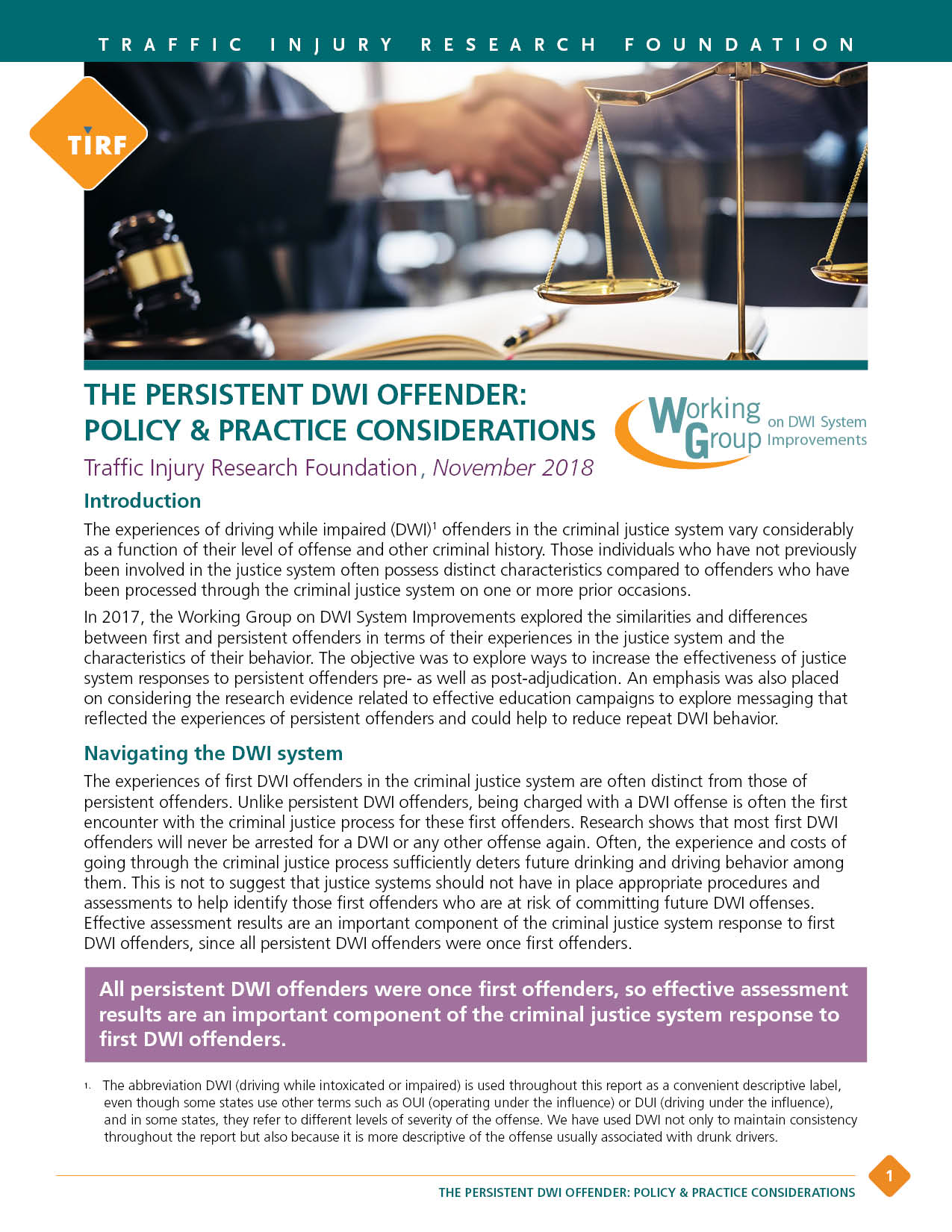 WG 2017 – The Persistent DWI Offender Policy & Practice Considerations