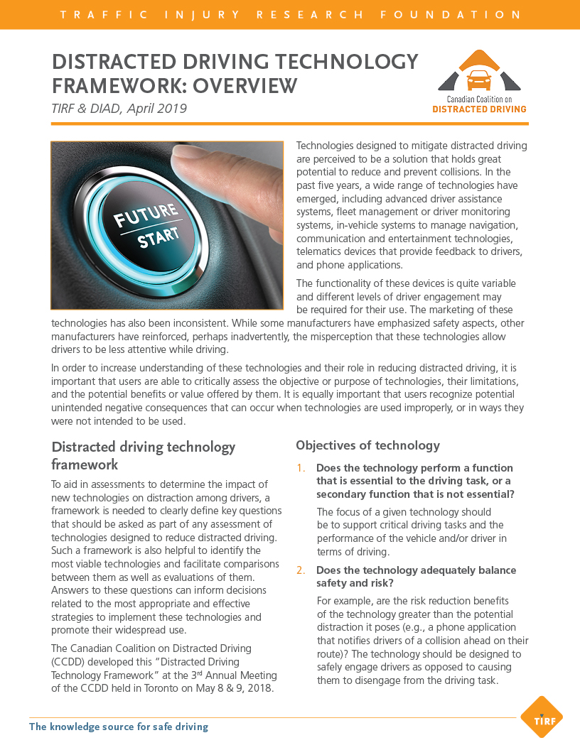 Distracted Driving Technology Framework: Overview