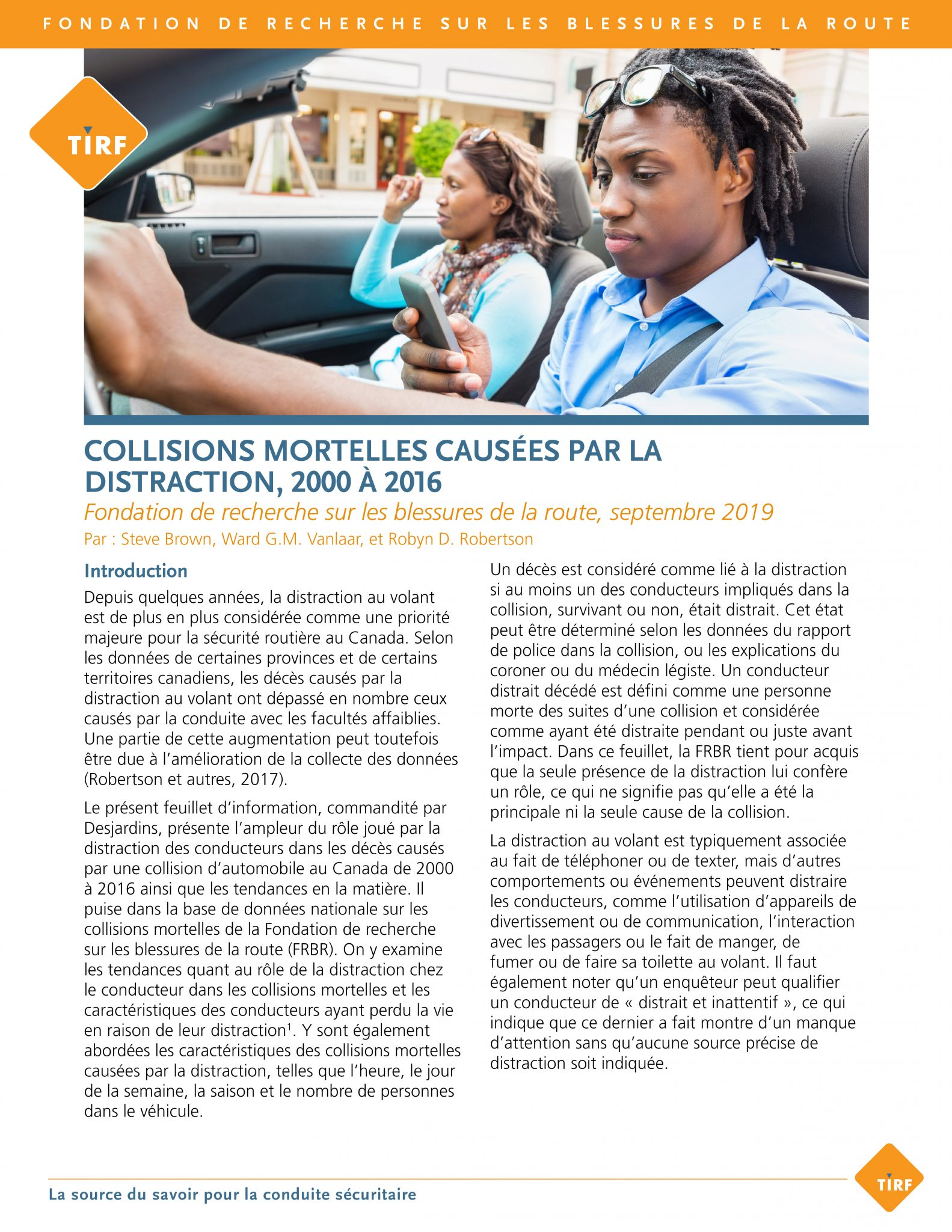 Collisions mortelles causées par la distraction, 2000-2016