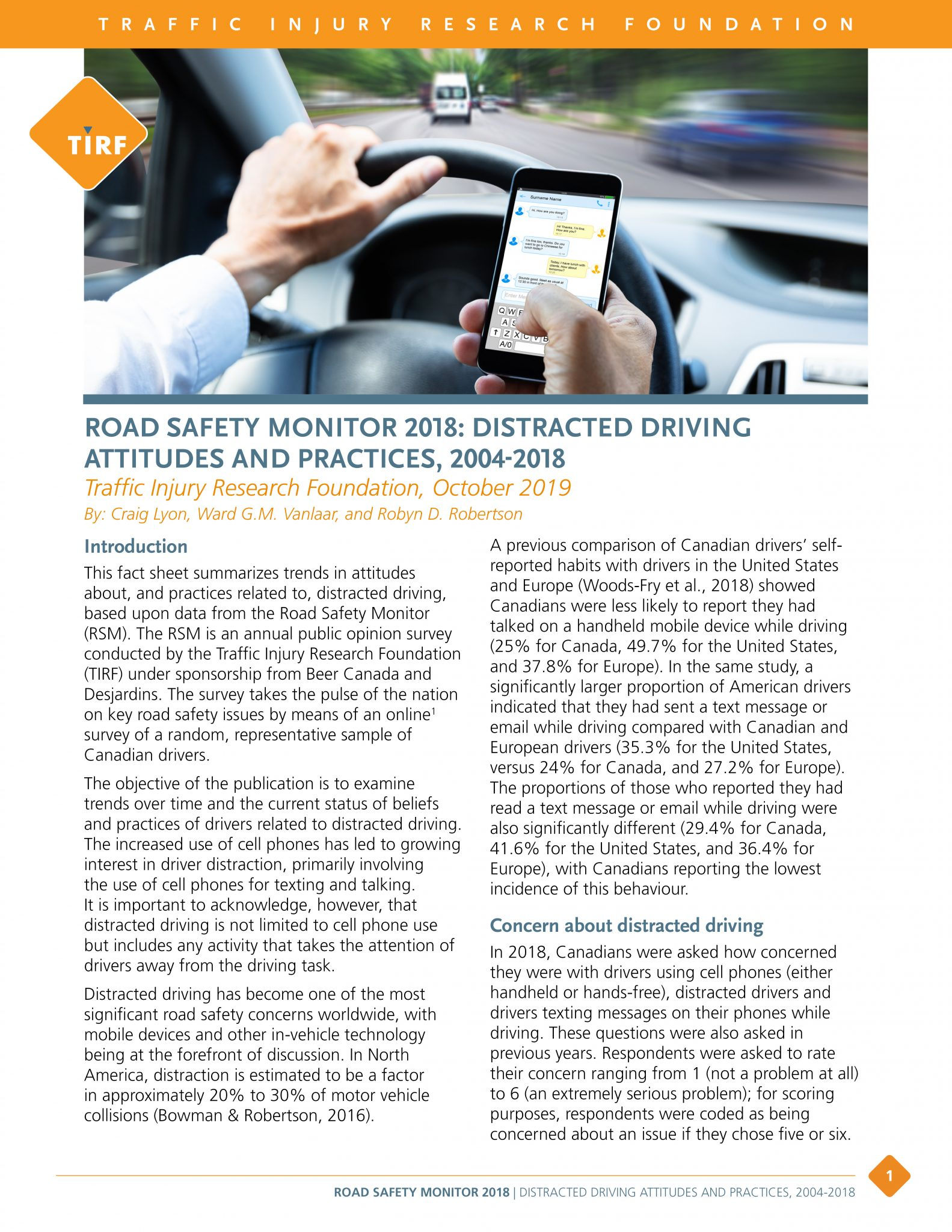 RSM Distracted Driving Attitudes and Practices, 2004-2018