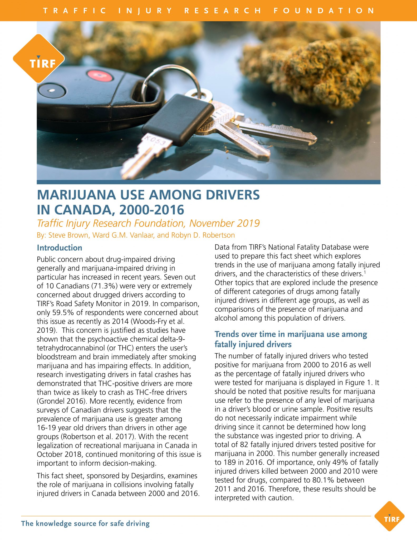 Marijuana Use Among Drivers in Canada, 2000-2016