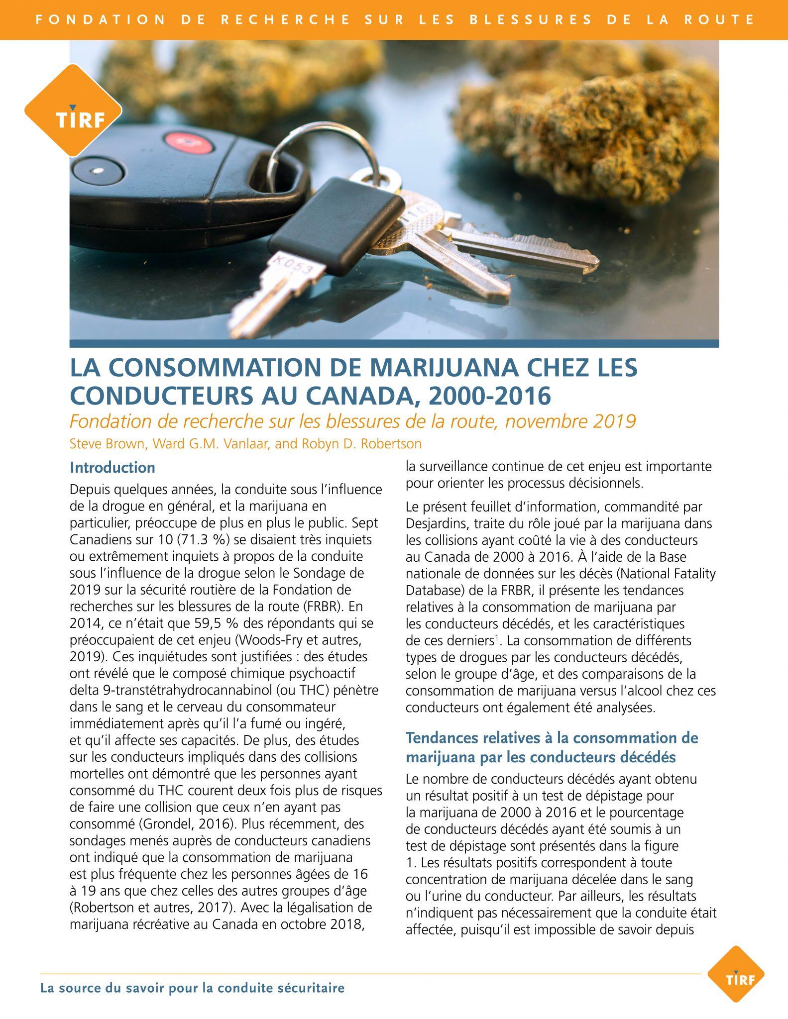 La consommation de marijuana chez les conducteurs au Canada, 2000 à 2016