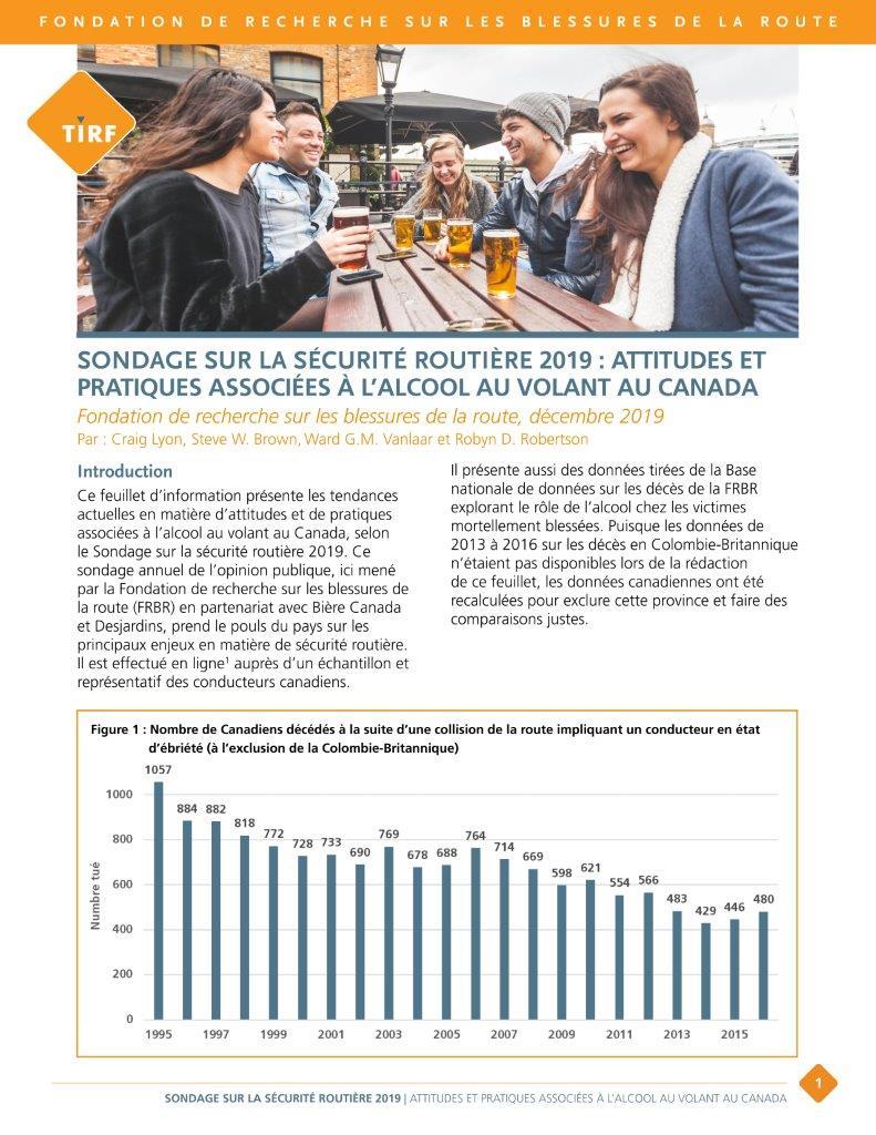 Sondage : Ralentissement des progrès en matière d'alcool au volant au Canada