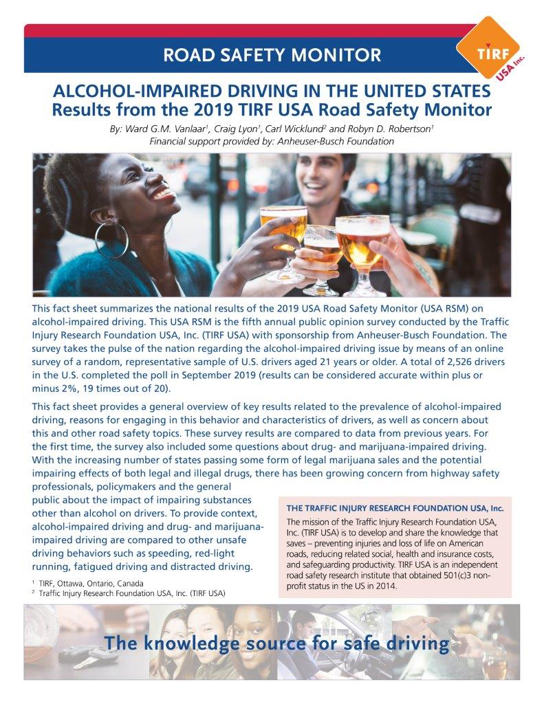 TIRF USA releases Road Safety Monitor: Alcohol-Impaired Driving in the United States, 2019