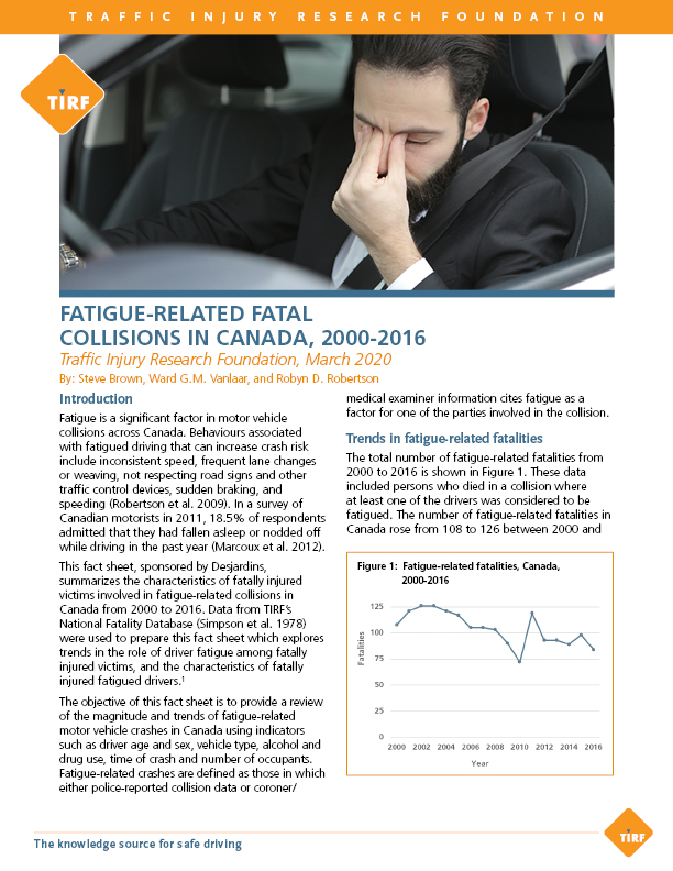 Fatigue-Related Fatal Collisions in Canada, 2000-2016