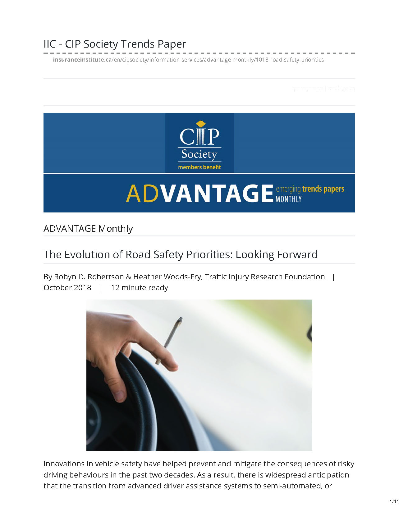 The Evolution of Road Safety Priorities Looking Forward