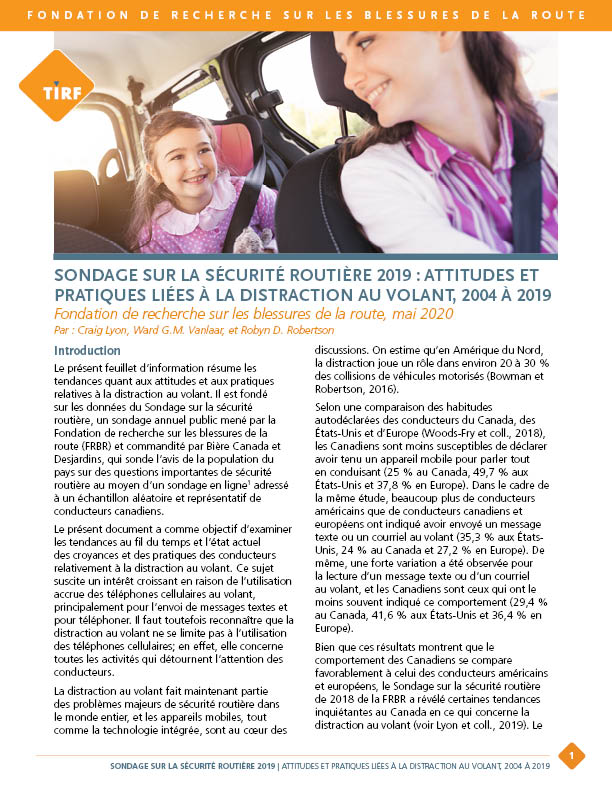 Sondage sur la sécurité routière 2019 : Attitudes et pratiques liées à la distraction au volant, 2004 à 2019