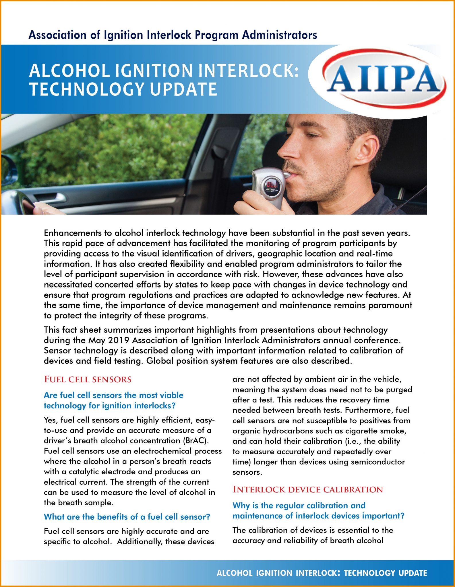 Alcohol Ignition Interlock: Technology Update