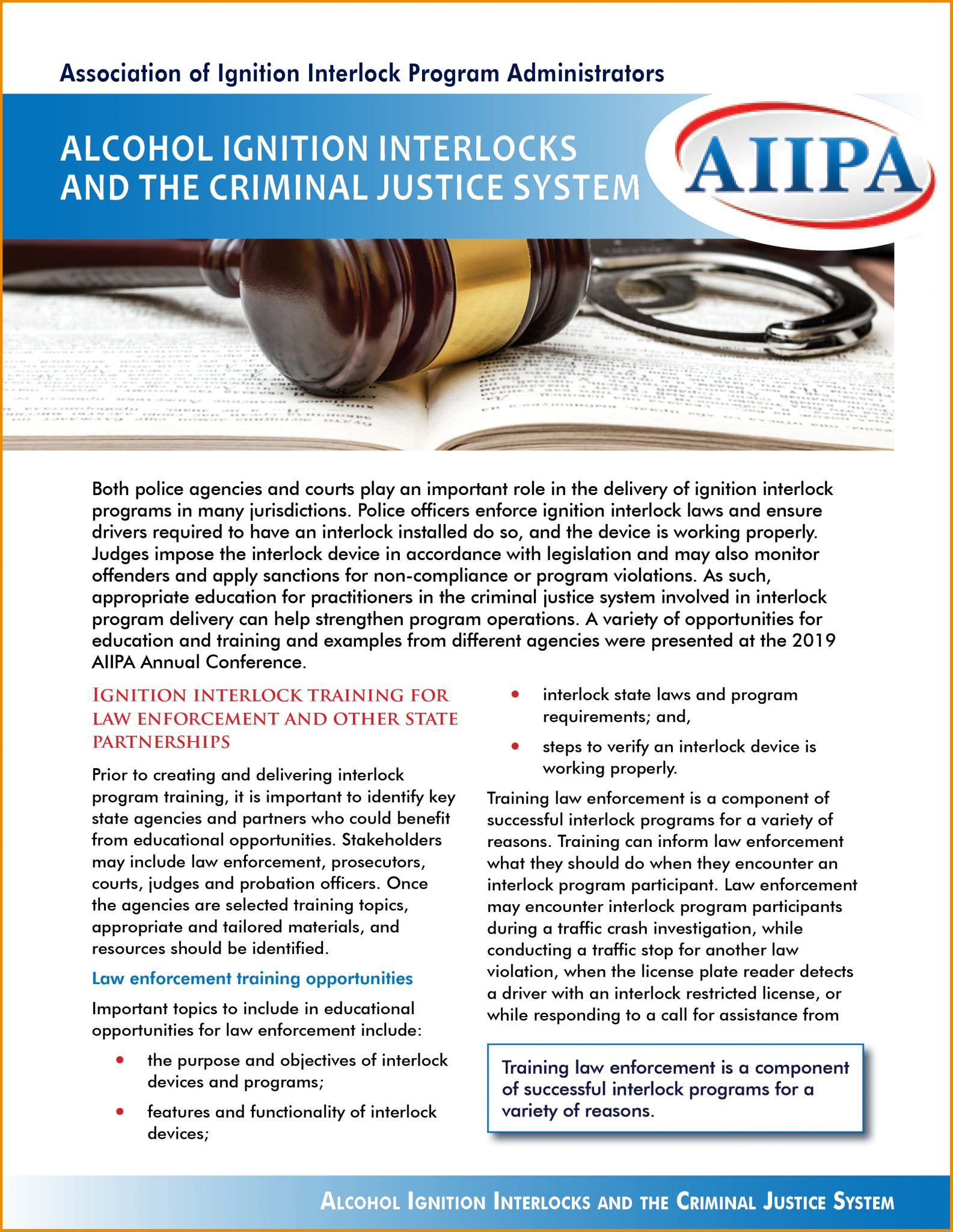 Alcohol Ignition Interlocks and the Criminal Justice System