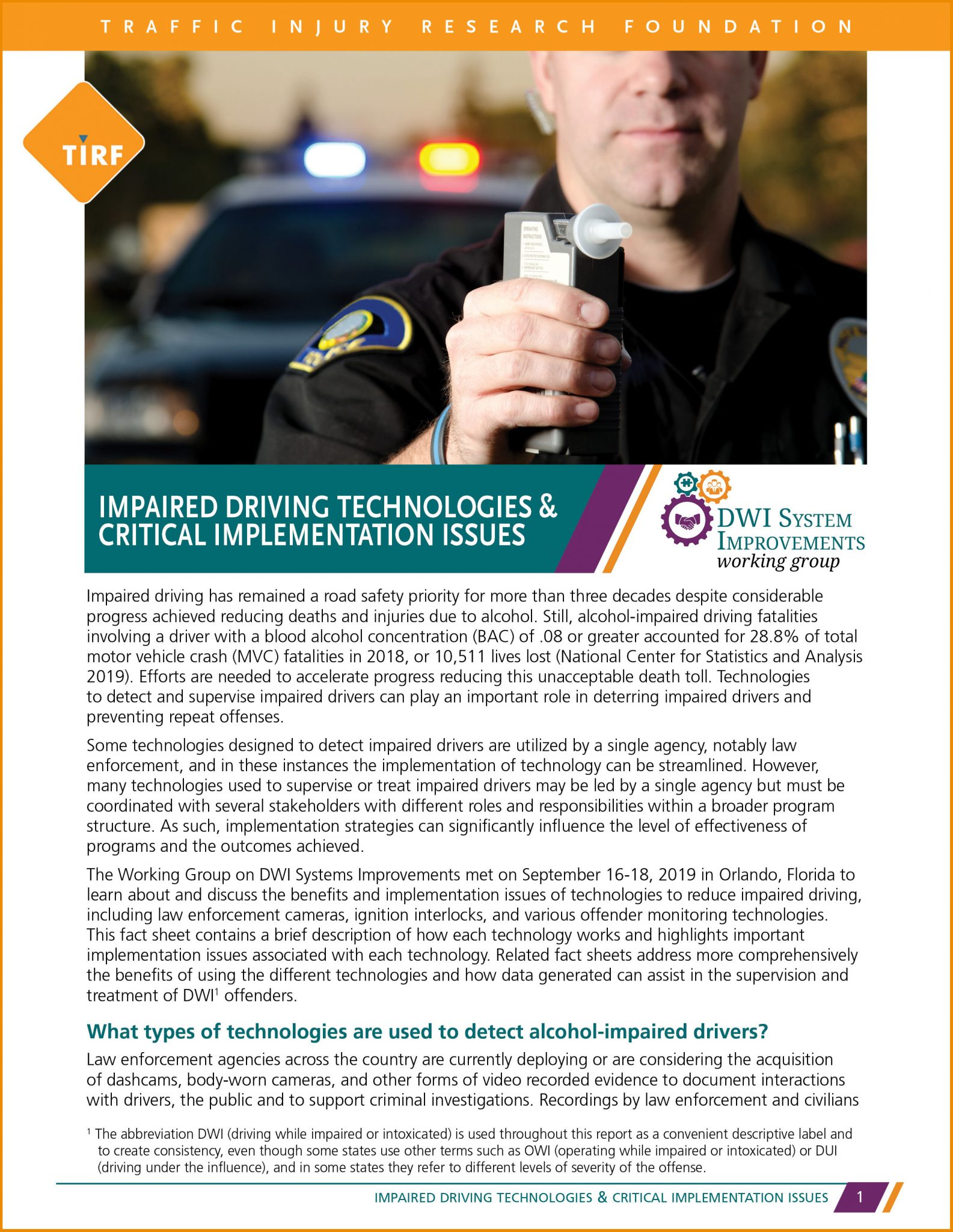 Impaired Driving Technologies & Critical Implementation Issues