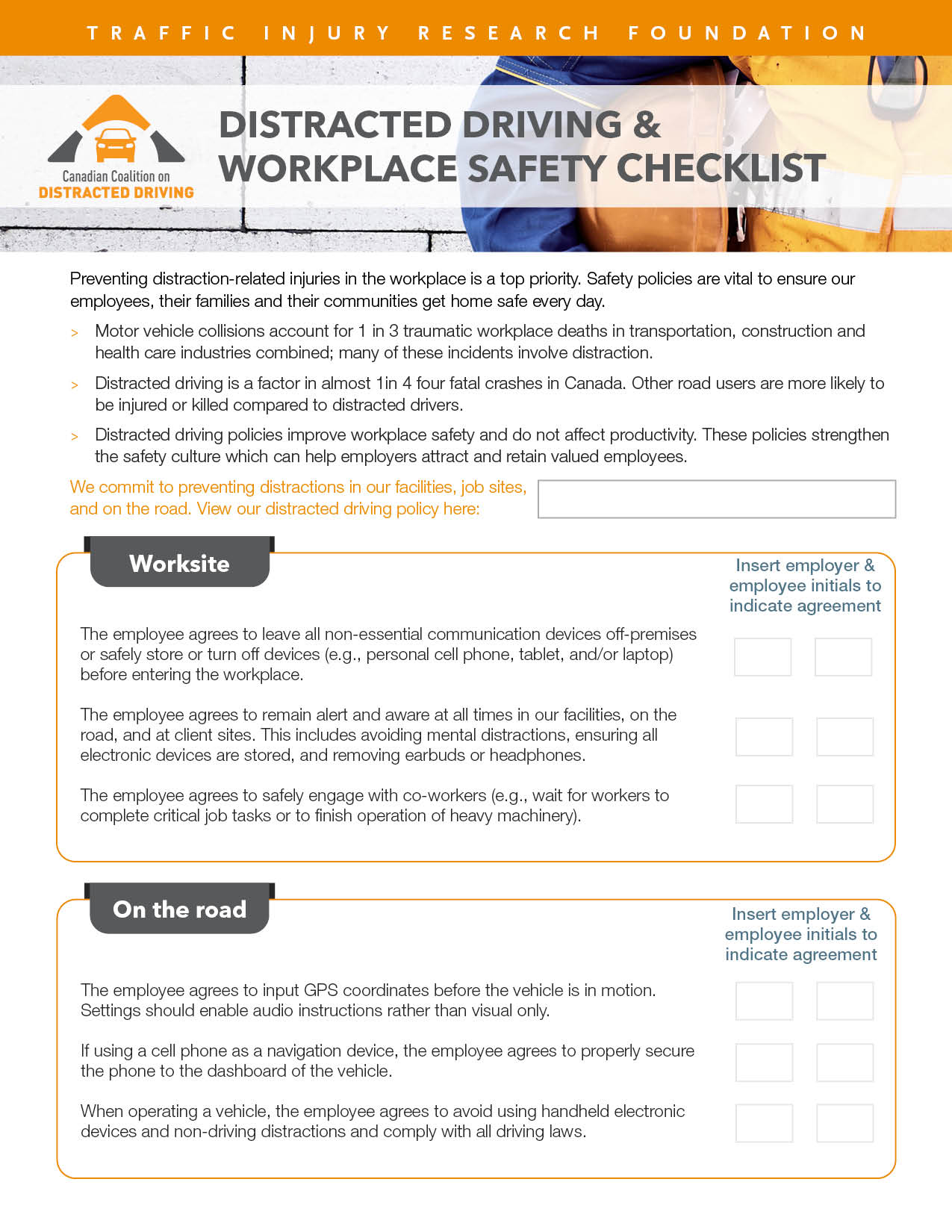 Distracted Driving & Workplace Safety Checklist