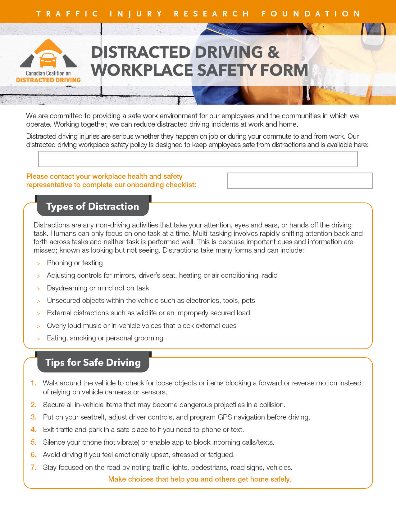 Distracted Driving & Workplace Safety Form