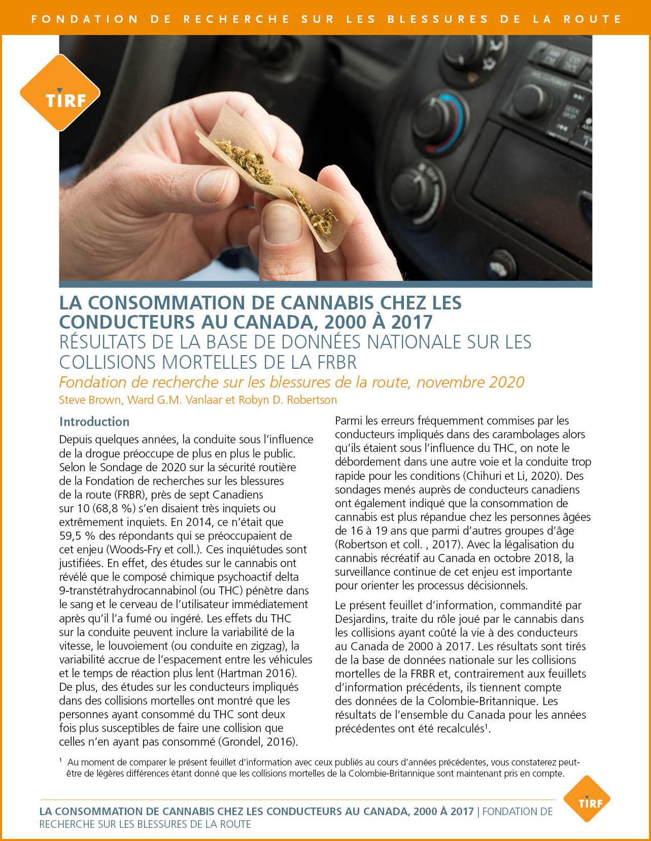 La consommation de marijuana chez les conducteurs au Canada, 2000 à 2017