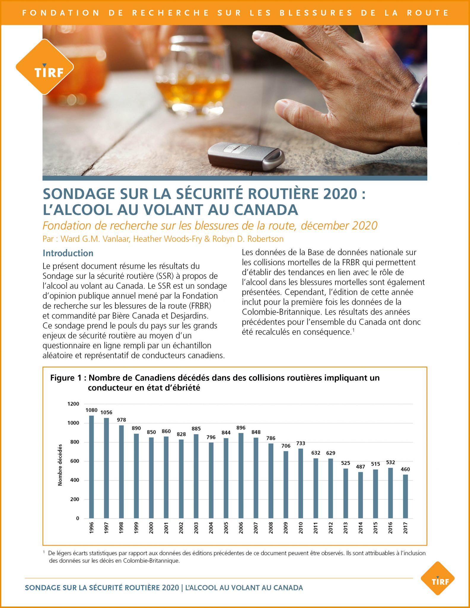 Sondage sur la sécurité routière 2020 : L'alcool au volant au Canada